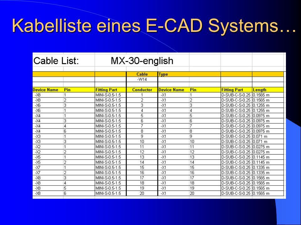 Kabelliste eines E-CAD Systems…