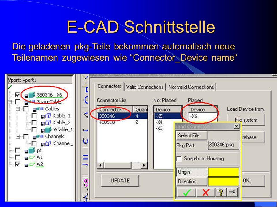 Die geladenen pkg-Teile bekommen automatisch neue Teilenamen zugewiesen wie Connector_Device name E-CAD Schnittstelle