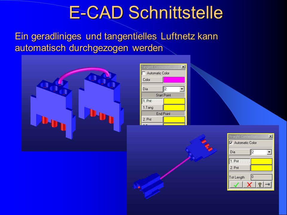 Ein geradliniges und tangentielles Luftnetz kann automatisch durchgezogen werden E-CAD Schnittstelle