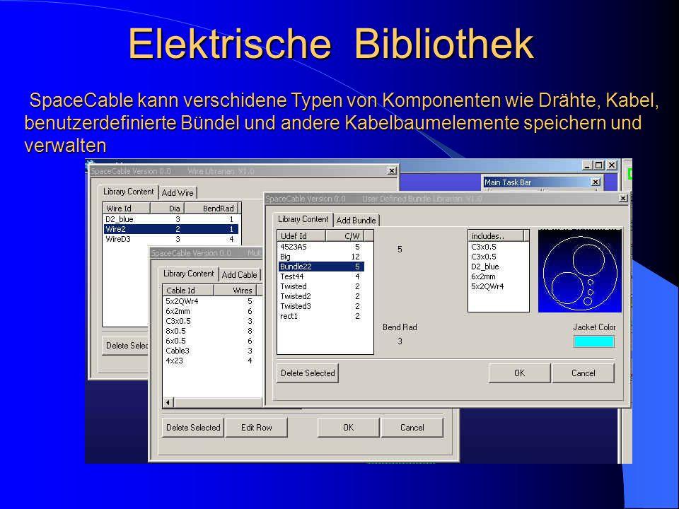 Elektrische Bibliothek SpaceCable kann verschidene Typen von Komponenten wie Drähte, Kabel, benutzerdefinierte Bündel und andere Kabelbaumelemente spe