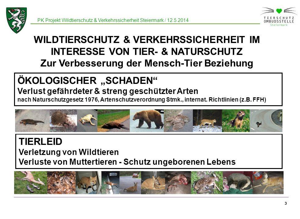 33 PK Projekt Wildtierschutz & Verkehrssicherheit Steiermark / 12.5.2014 3 WILDTIERSCHUTZ & VERKEHRSSICHERHEIT IM INTERESSE VON TIER- & NATURSCHUTZ Zu