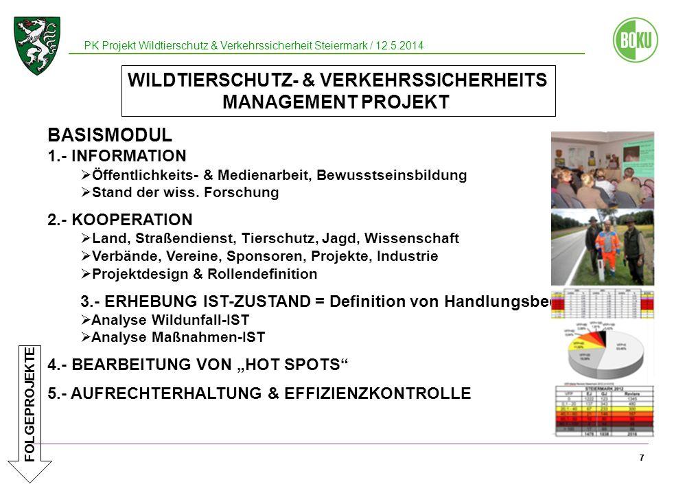 77 7 BASISMODUL 1.- INFORMATION Öffentlichkeits- & Medienarbeit, Bewusstseinsbildung Stand der wiss. Forschung 2.- KOOPERATION Land, Straßendienst, Ti