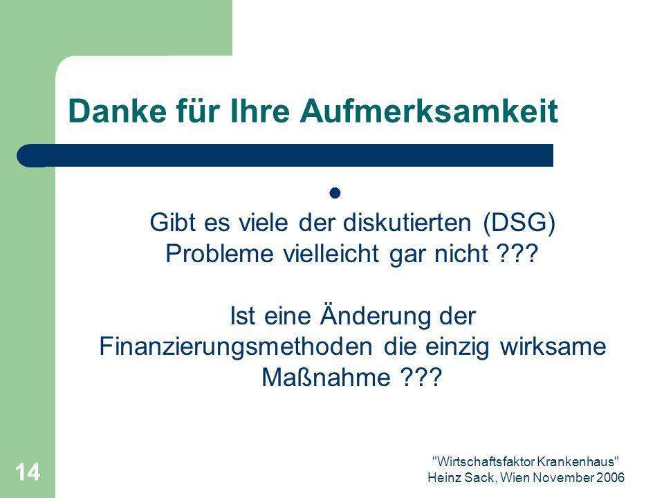 Wirtschaftsfaktor Krankenhaus Heinz Sack, Wien November 2006 14 Danke für Ihre Aufmerksamkeit Gibt es viele der diskutierten (DSG) Probleme vielleicht gar nicht .