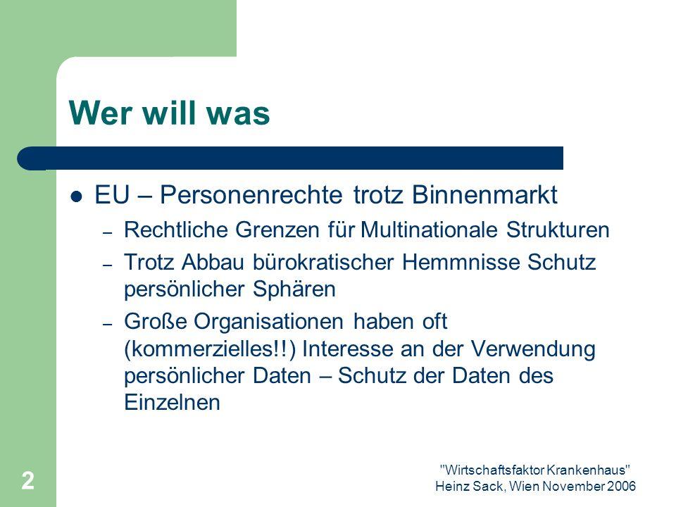 Wirtschaftsfaktor Krankenhaus Heinz Sack, Wien November 2006 13 Judikatur - Praxisbeispiele ??.