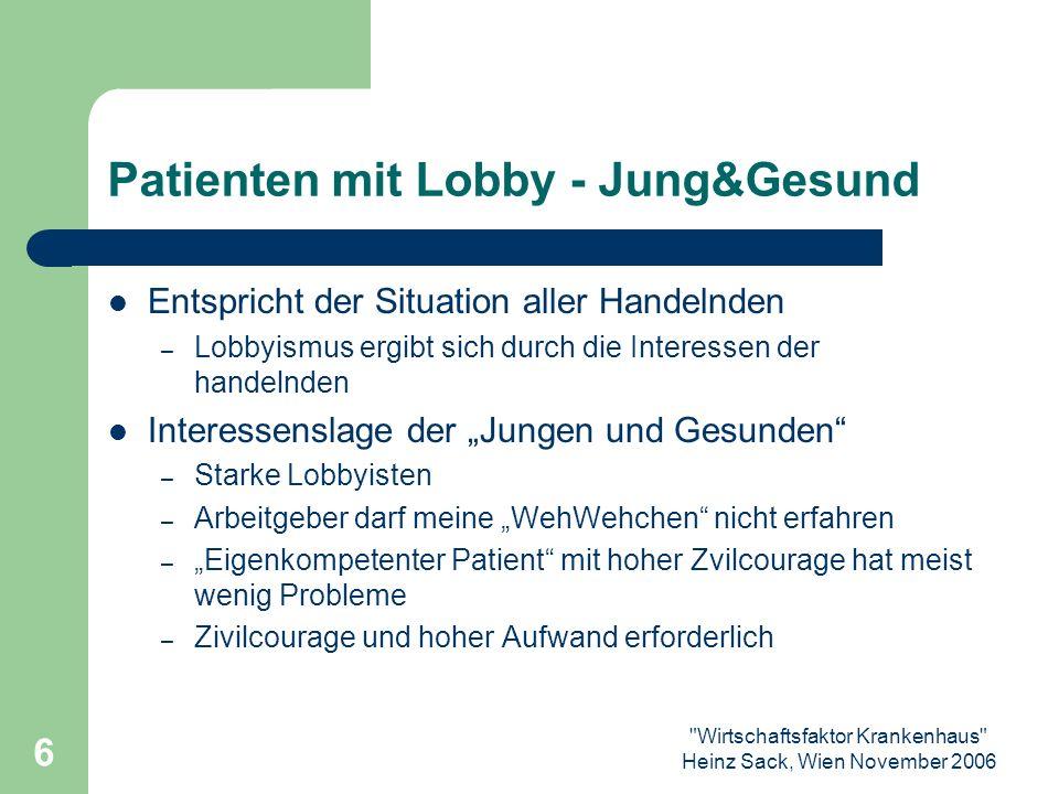 Wirtschaftsfaktor Krankenhaus Heinz Sack, Wien November 2006 7 Patienten ohne Lobby Alt, Multimorbid,...