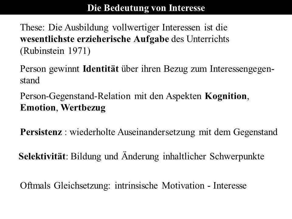 Interessentypen Interesse korreliert positiv mit Gedächtnisleistung 6 Interessentypen (Realistisch, Intellektuell, Künstlerisch, Sozial, Unternehmerisch, Konventionell) Situativer Interessentest: http://www.stangl-taller.at/ARBEITSBLAETTER/TEST/SIT/Test.shtml