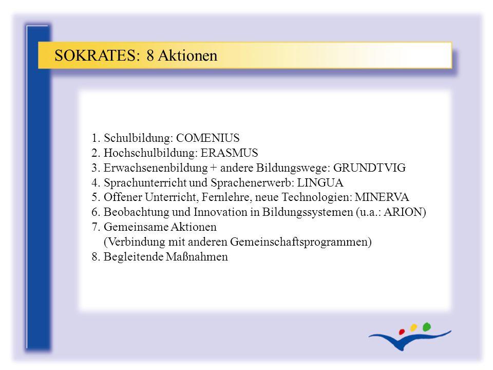 1. Schulbildung: COMENIUS 2. Hochschulbildung: ERASMUS 3. Erwachsenenbildung + andere Bildungswege: GRUNDTVIG 4. Sprachunterricht und Sprachenerwerb:
