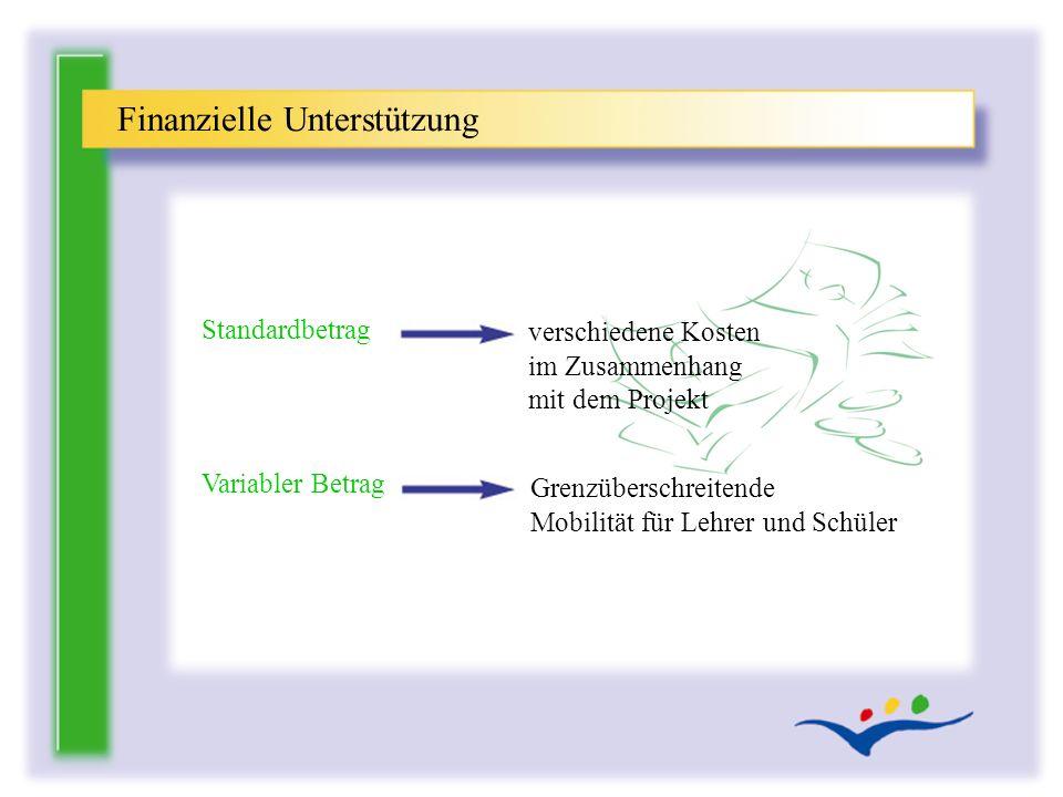 verschiedene Kosten im Zusammenhang mit dem Projekt Finanzielle Unterstützung Standardbetrag Variabler Betrag Grenzüberschreitende Mobilität für Lehre