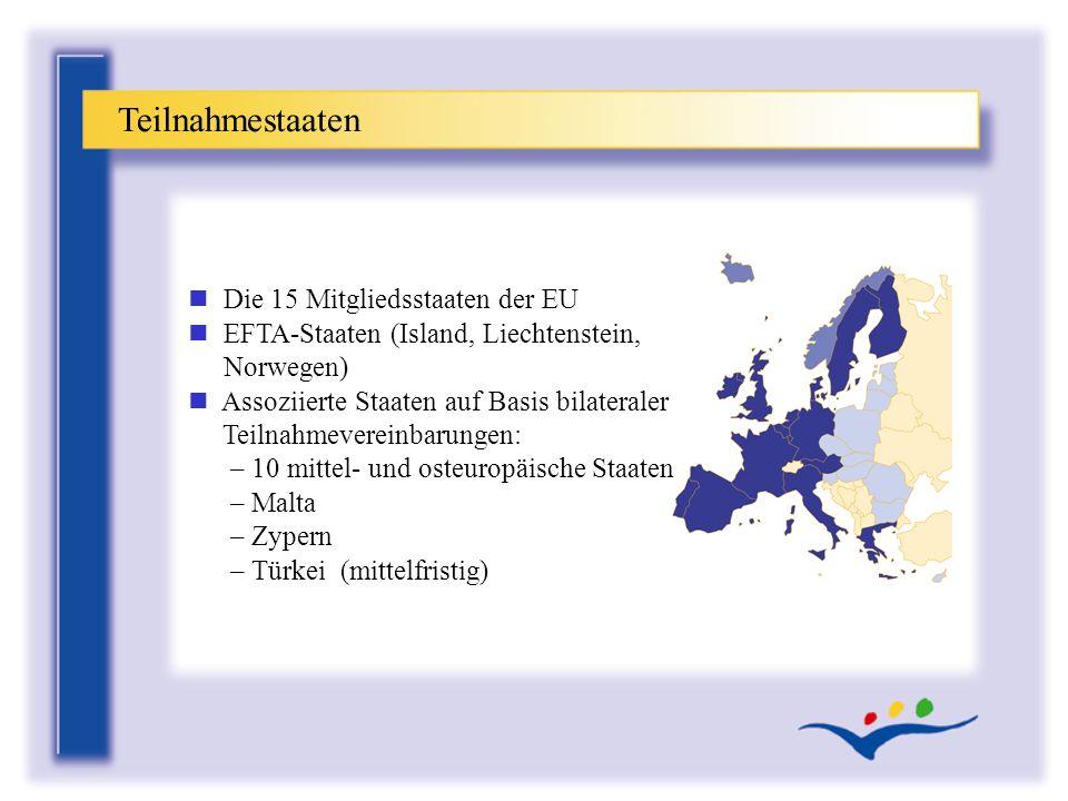 Teilnahmestaaten n Die 15 Mitgliedsstaaten der EU n EFTA-Staaten (Island, Liechtenstein, Norwegen) n Assoziierte Staaten auf Basis bilateraler Teilnah