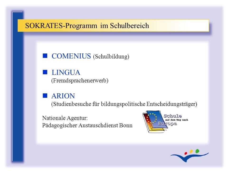 n COMENIUS (Schulbildung) n LINGUA (Fremdsprachenerwerb) n ARION (Studienbesuche für bildungspolitische Entscheidungsträger) SOKRATES-Programm im Schu