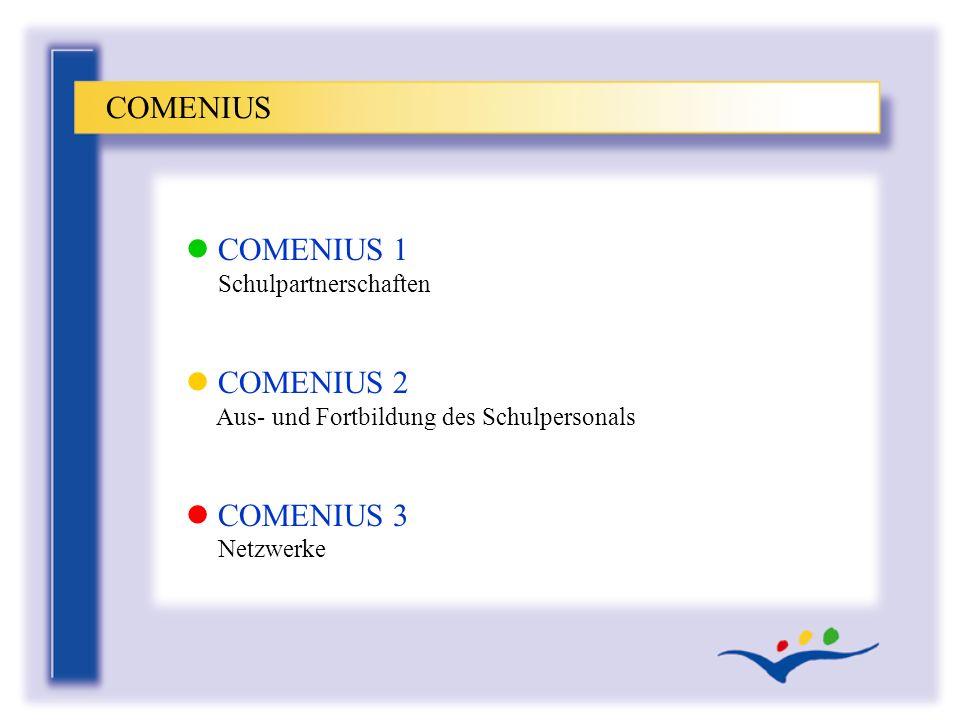 l COMENIUS 1 Schulpartnerschaften l COMENIUS 2 Aus- und Fortbildung des Schulpersonals l COMENIUS 3 Netzwerke COMENIUS