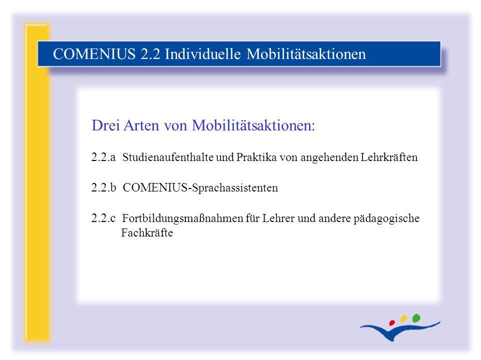 2.2.a Studienaufenthalte und Praktika von angehenden Lehrkräften 2.2.b COMENIUS- Sprachassistenten 2.2.c Fortbildungsmaßnahmen für Lehrer und andere p
