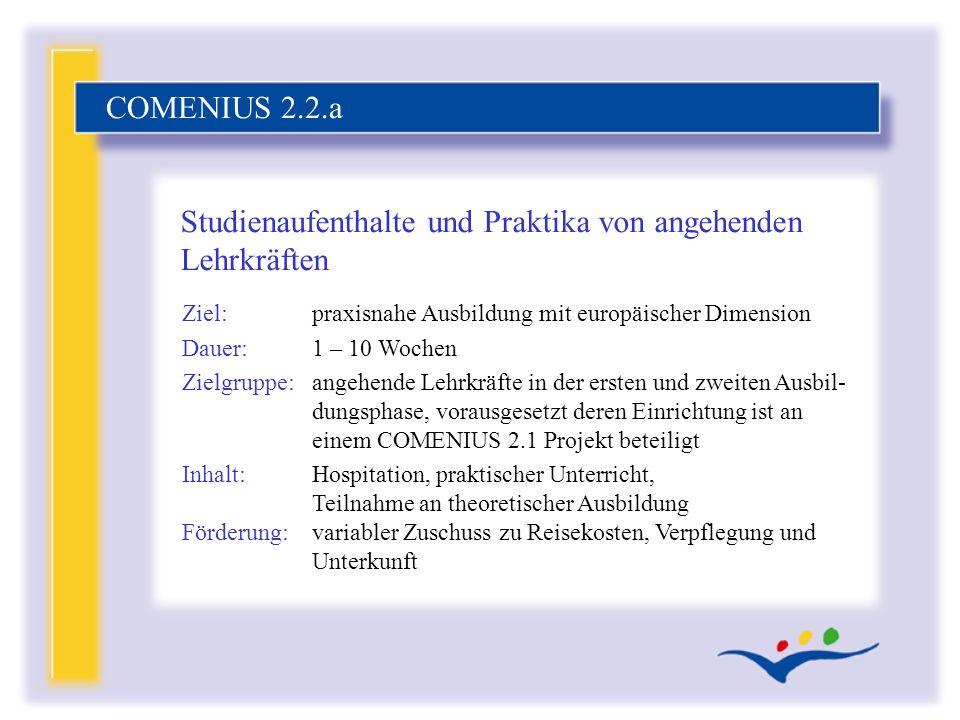 Ziel:praxisnahe Ausbildung mit europäischer Dimension Dauer:1 – 10 Wochen Zielgruppe:angehende Lehrkräfte in der ersten und zweiten Ausbil- dungsphase