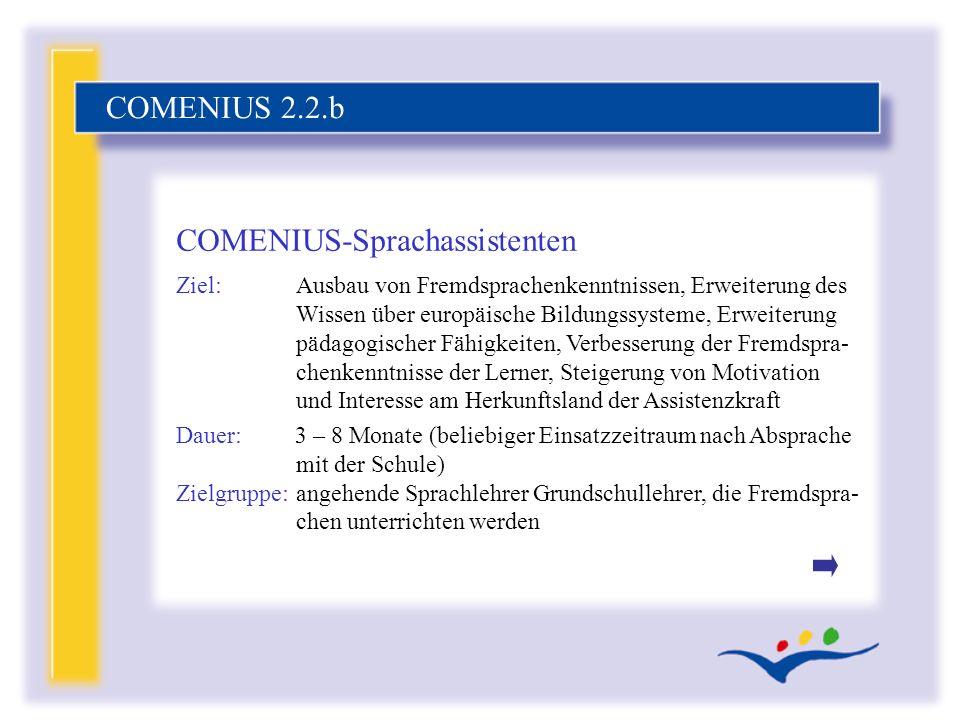 Ziel:Ausbau von Fremdsprachenkenntnissen, Erweiterung des Wissen über europäische Bildungssysteme, Erweiterung pädagogischer Fähigkeiten, Verbesserung