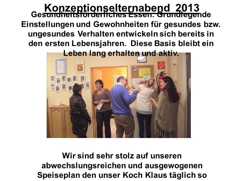 Konzeptionselternabend 2013 Gesundheitsförderliches Essen: Grundlegende Einstellungen und Gewohnheiten für gesundes bzw.