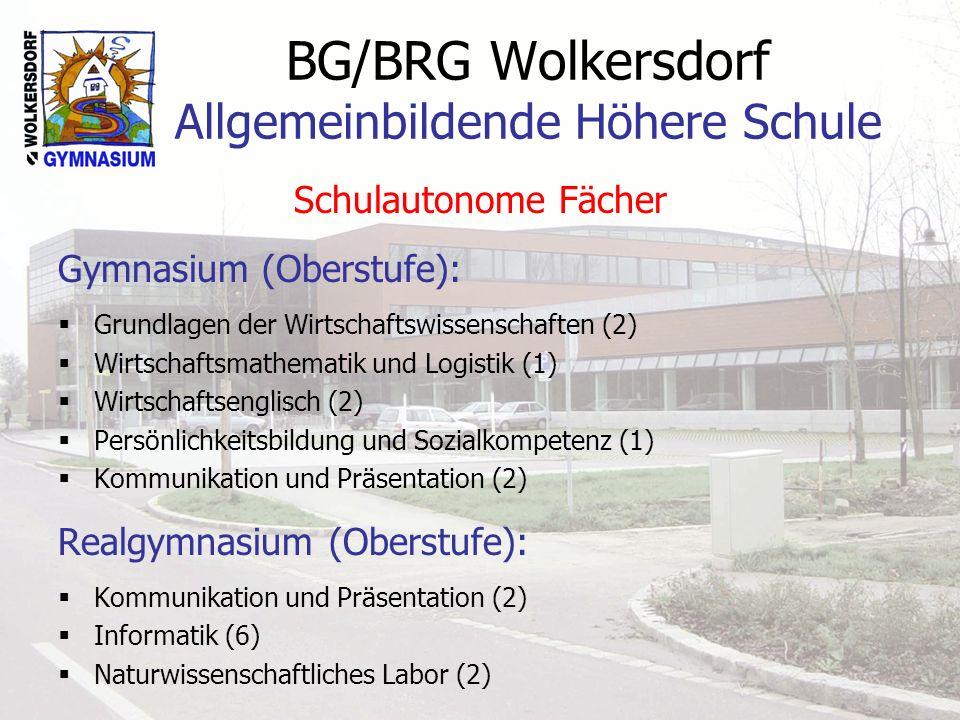 BG/BRG Wolkersdorf Allgemeinbildende Höhere Schule Schulautonome Fächer Gymnasium (Oberstufe): Grundlagen der Wirtschaftswissenschaften (2) Wirtschaft
