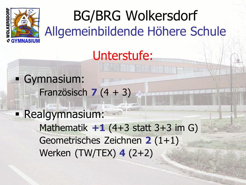 BG/BRG Wolkersdorf Allgemeinbildende Höhere Schule Unterstufe: Gymnasium: Französisch 7 (4 + 3) Realgymnasium: Mathematik +1 (4+3 statt 3+3 im G) Geom
