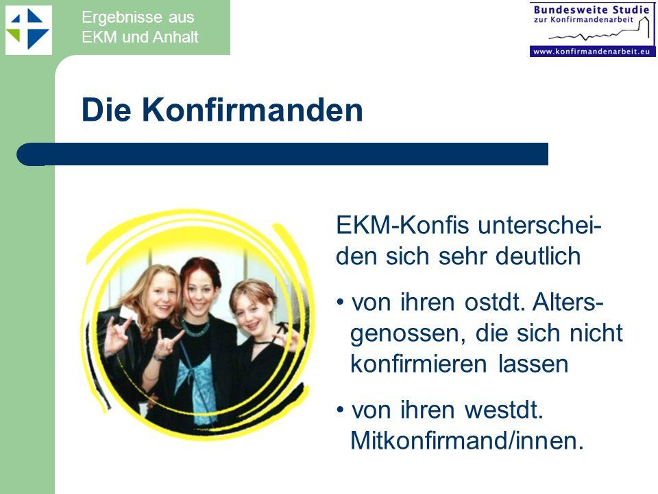 Die Konfirmanden EKM-Konfis unterschei- den sich sehr deutlich von ihren ostdt. Alters- genossen, die sich nicht konfirmieren lassen von ihren westdt.