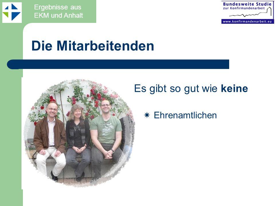 Die Mitarbeitenden Es gibt so gut wie keine Ehrenamtlichen Ergebnisse aus EKM und Anhalt