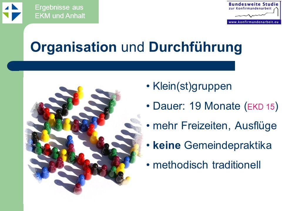 Organisation und Durchführung Klein(st)gruppen Dauer: 19 Monate ( EKD 15 ) mehr Freizeiten, Ausflüge keine Gemeindepraktika methodisch traditionell Er