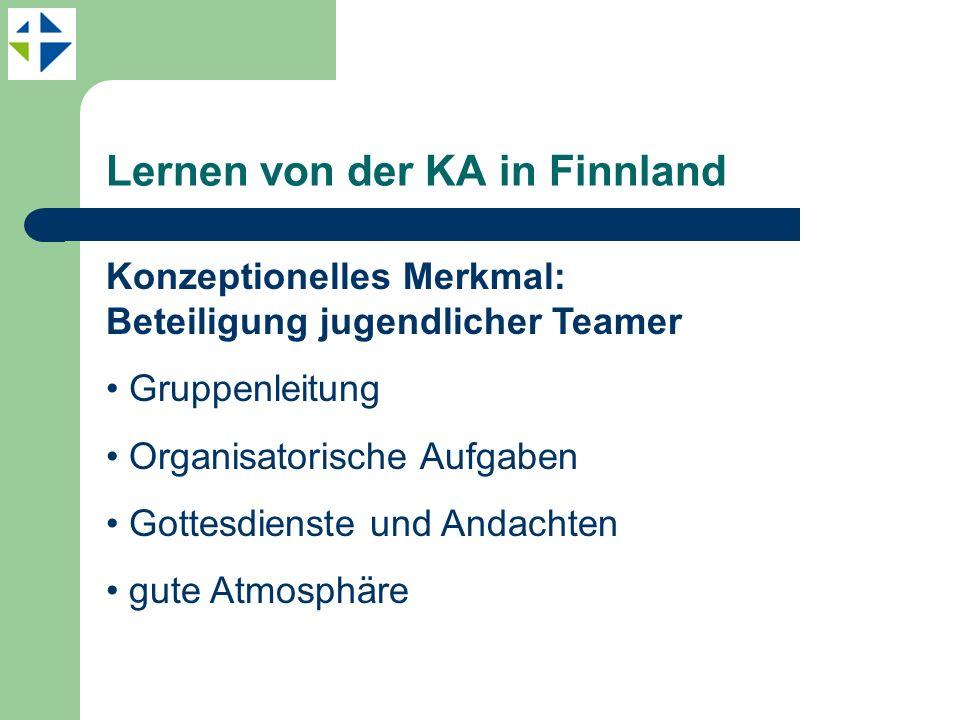 Lernen von der KA in Finnland Konzeptionelles Merkmal: Beteiligung jugendlicher Teamer Gruppenleitung Organisatorische Aufgaben Gottesdienste und Andachten gute Atmosphäre