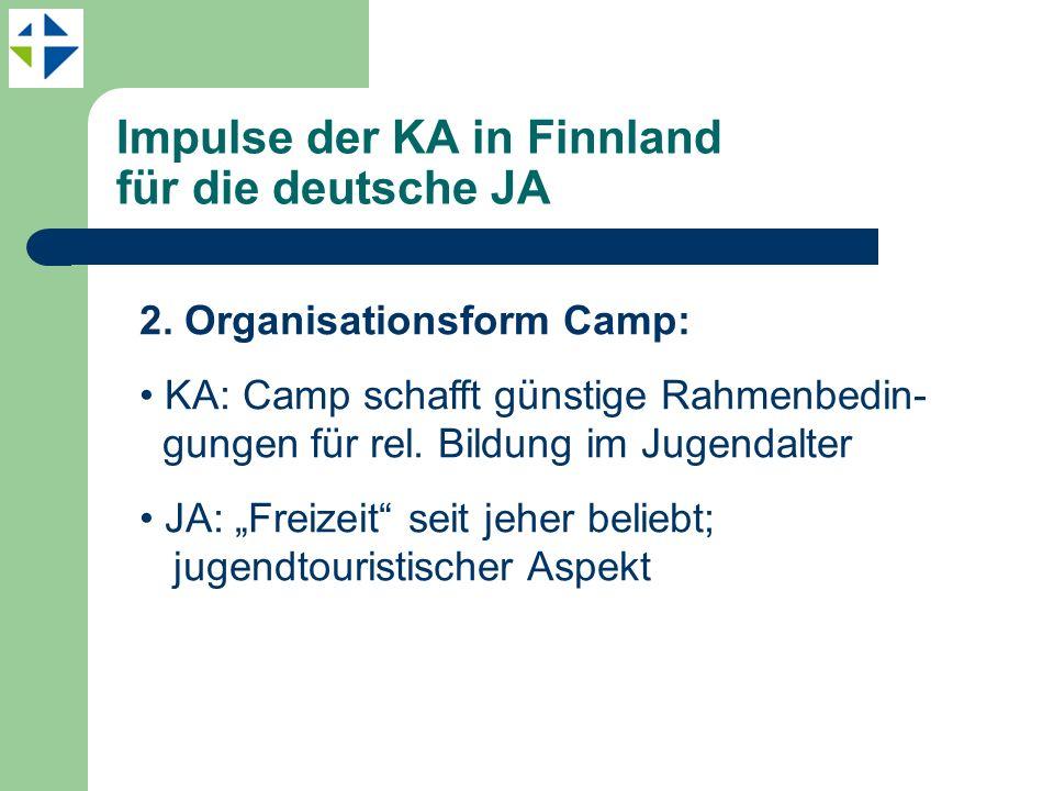 Impulse der KA in Finnland für die deutsche JA 2. Organisationsform Camp: KA: Camp schafft günstige Rahmenbedin- gungen für rel. Bildung im Jugendalte