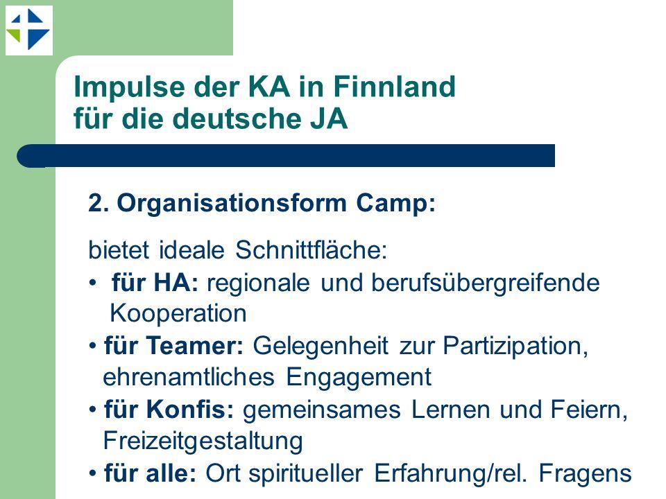 Impulse der KA in Finnland für die deutsche JA 2. Organisationsform Camp: bietet ideale Schnittfläche: für HA: regionale und berufsübergreifende Koope