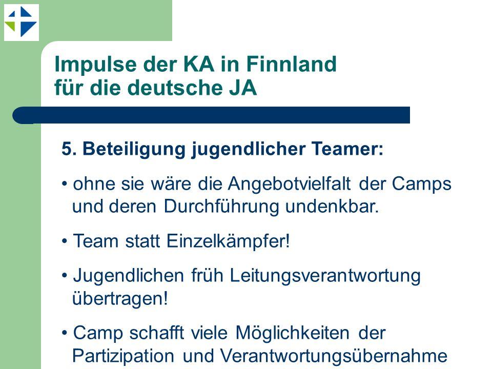 Impulse der KA in Finnland für die deutsche JA 5. Beteiligung jugendlicher Teamer: ohne sie wäre die Angebotvielfalt der Camps und deren Durchführung