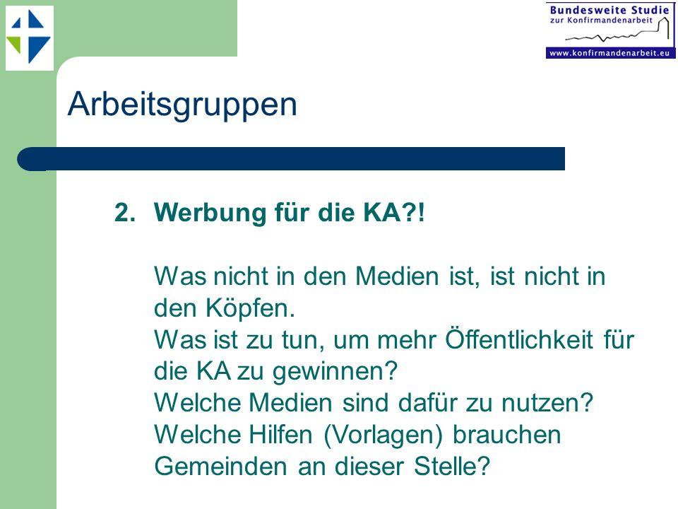 Arbeitsgruppen 2.Werbung für die KA?.Was nicht in den Medien ist, ist nicht in den Köpfen.