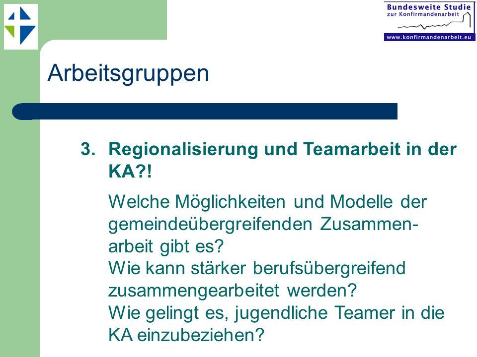 Arbeitsgruppen 3.Regionalisierung und Teamarbeit in der KA?! Welche Möglichkeiten und Modelle der gemeindeübergreifenden Zusammen- arbeit gibt es? Wie