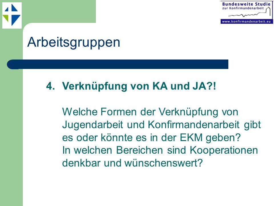 Arbeitsgruppen 4.Verknüpfung von KA und JA?! Welche Formen der Verknüpfung von Jugendarbeit und Konfirmandenarbeit gibt es oder könnte es in der EKM g