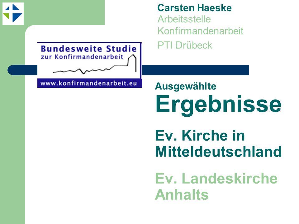 Ausgewählte Ergebnisse Ev.Kirche in Mitteldeutschland Ev.