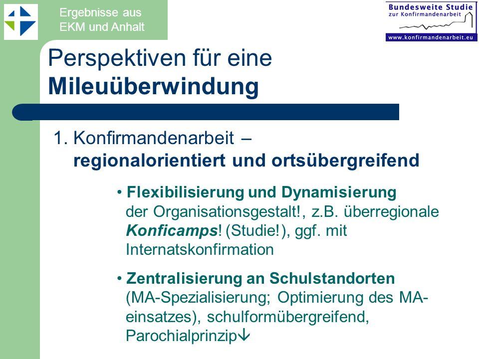 Perspektiven für eine Mileuüberwindung Ergebnisse aus EKM und Anhalt 1. Konfirmandenarbeit – regionalorientiert und ortsübergreifend Flexibilisierung