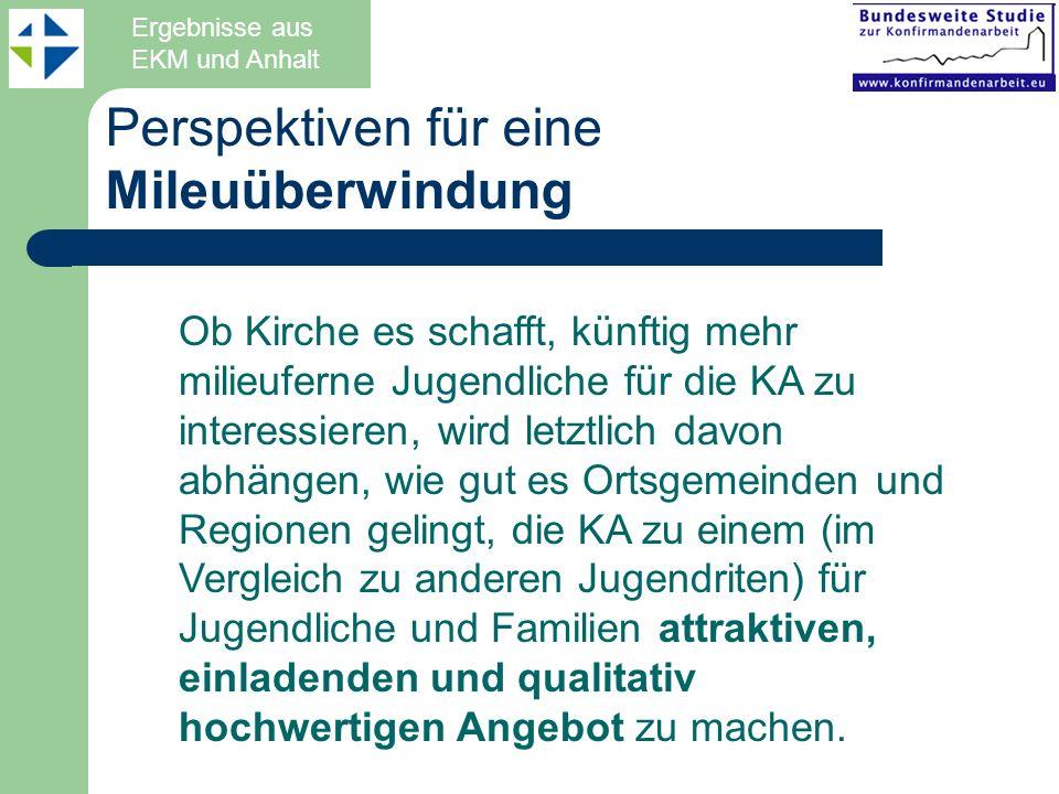 Perspektiven für eine Mileuüberwindung Ergebnisse aus EKM und Anhalt Ob Kirche es schafft, künftig mehr milieuferne Jugendliche für die KA zu interess