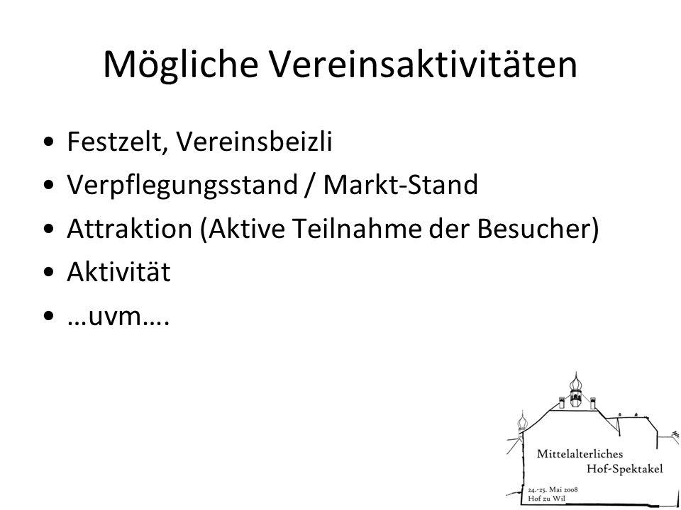 Mögliche Vereinsaktivitäten Festzelt, Vereinsbeizli Verpflegungsstand / Markt-Stand Attraktion (Aktive Teilnahme der Besucher) Aktivität …uvm….