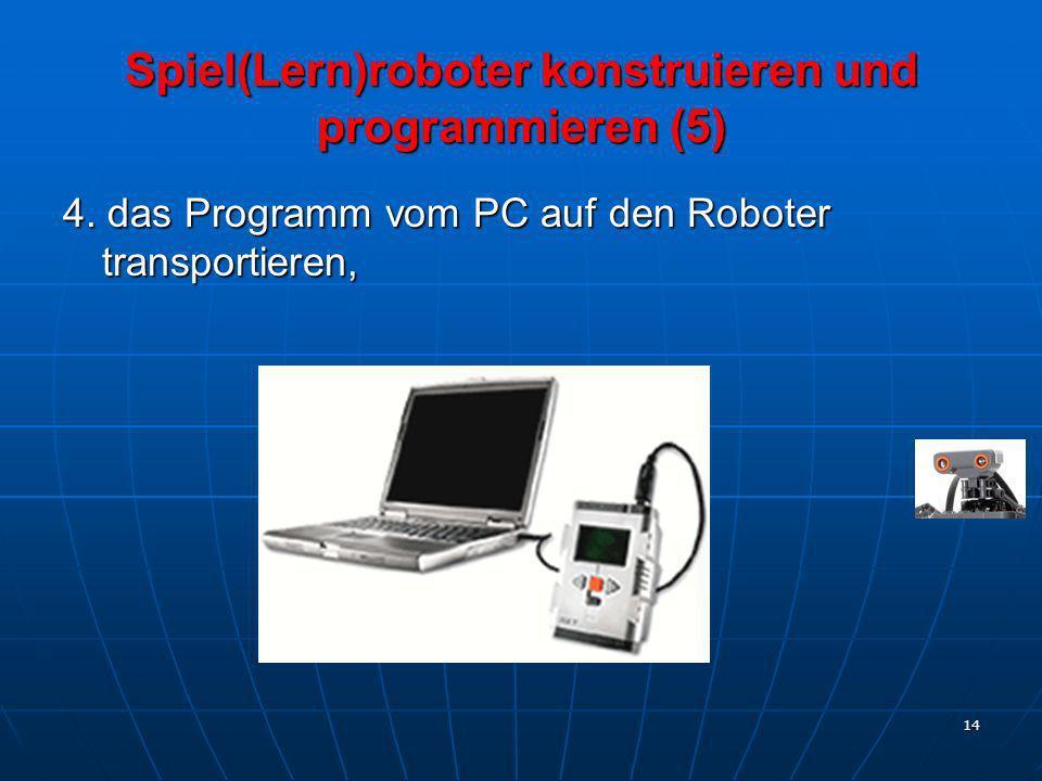 14 4. das Programm vom PC auf den Roboter transportieren, Spiel(Lern)roboter konstruieren und programmieren (5)