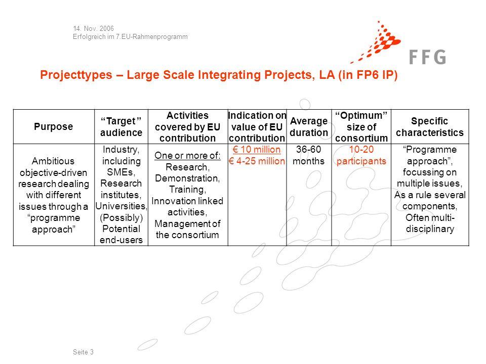 14. Nov. 2006 Erfolgreich im 7.EU-Rahmenprogramm Seite 3 Projecttypes – Large Scale Integrating Projects, LA (in FP6 IP) Purpose Target audience Activ