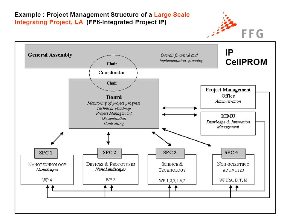 14. Nov. 2006 Erfolgreich im 7.EU-Rahmenprogramm Seite 4 IP CellPROM Example : Project Management Structure of a Large Scale Integrating Project, LA (