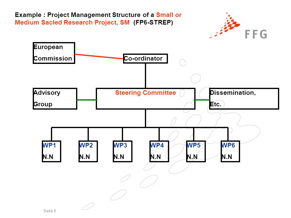 14. Nov. 2006 Erfolgreich im 7.EU-Rahmenprogramm Seite 6 Example : Project Management Structure of a Small or Medium Sacled Research Project, SM (FP6-