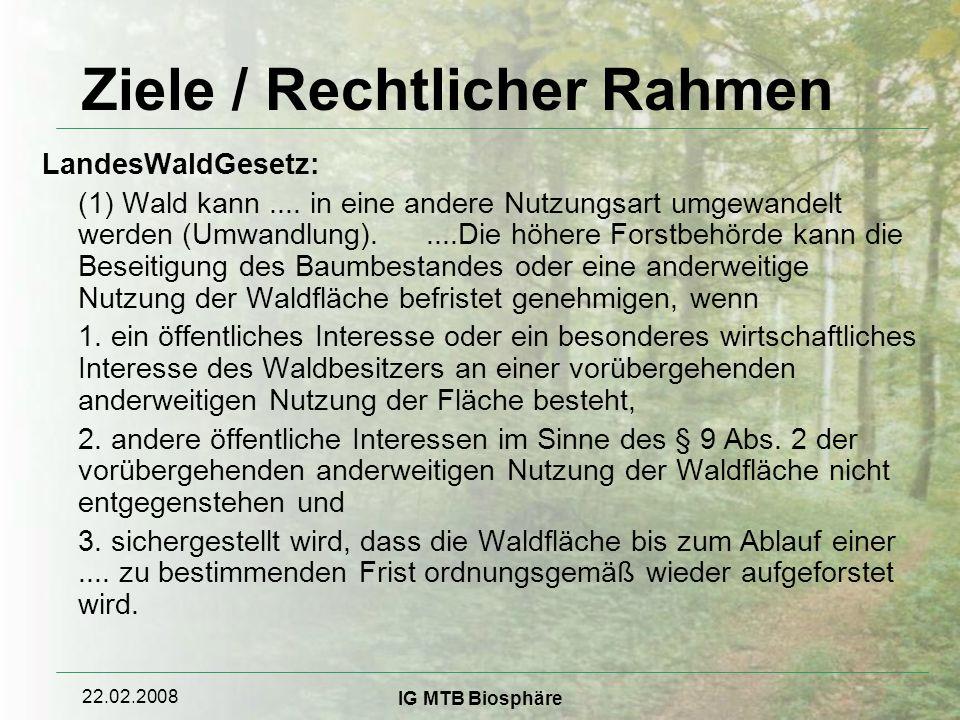 22.02.2008 IG MTB Biosphäre Ziele / Rechtlicher Rahmen LandesWaldGesetz: (1) Wald kann....