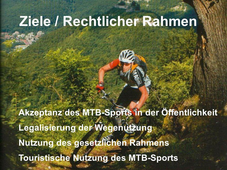 22.02.2008 IG MTB Biosphäre Ziele / Rechtlicher Rahmen Akzeptanz des MTB-Sports in der Öffentlichkeit Legalisierung der Wegenutzung Nutzung des gesetzlichen Rahmens Touristische Nutzung des MTB-Sports