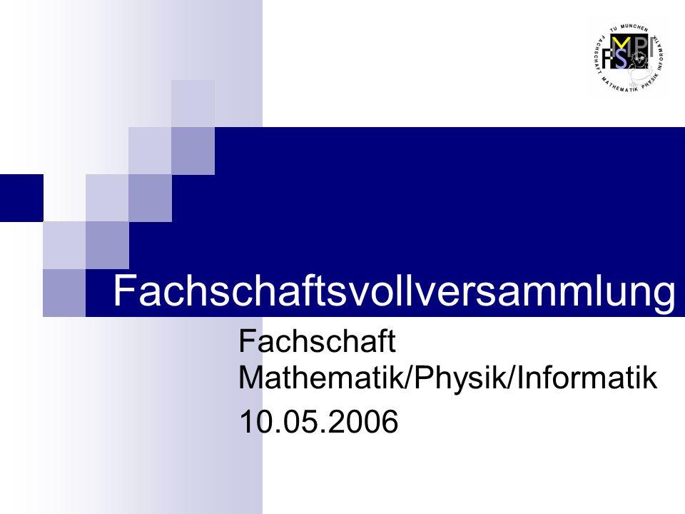 Fachschaftsvollversammlung Fachschaft Mathematik/Physik/Informatik 10.05.2006