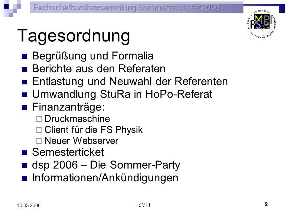 FSMPI 2 10.05.2006 Tagesordnung Begrüßung und Formalia Berichte aus den Referaten Entlastung und Neuwahl der Referenten Umwandlung StuRa in HoPo-Refer