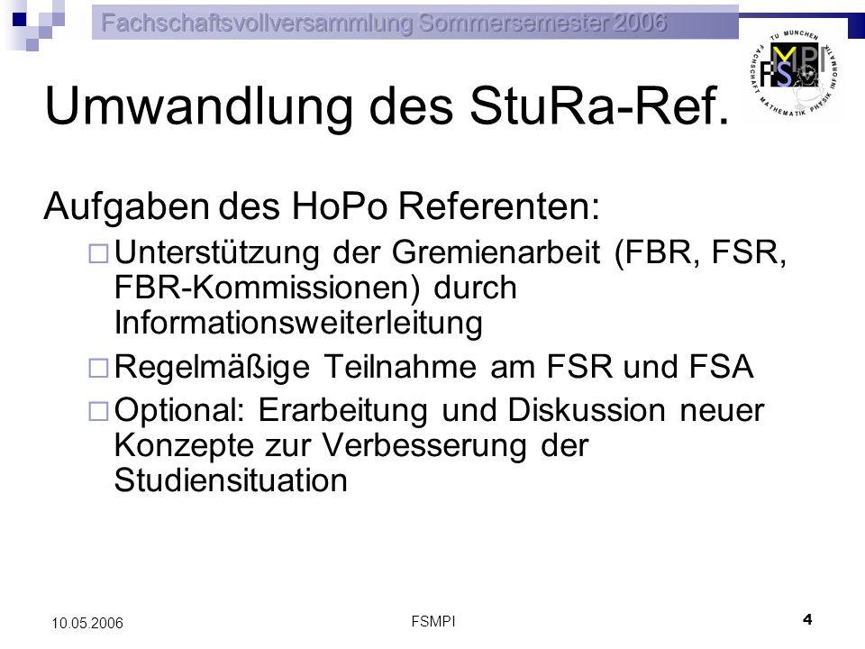 FSMPI 4 10.05.2006 Umwandlung des StuRa-Ref. Aufgaben des HoPo Referenten: Unterstützung der Gremienarbeit (FBR, FSR, FBR-Kommissionen) durch Informat