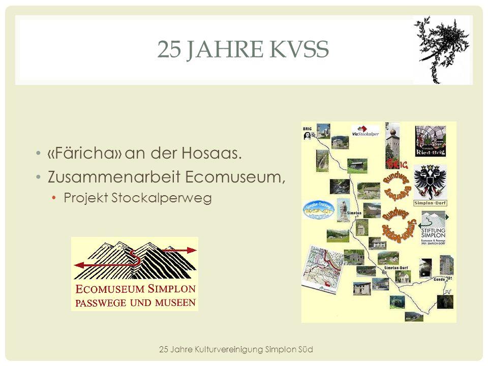 25 JAHRE KVSS 25 Jahre Kulturvereinigung Simplon Süd