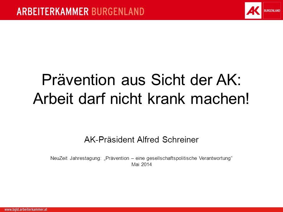 Prävention aus Sicht der AK: Arbeit darf nicht krank machen! AK-Präsident Alfred Schreiner NeuZeit Jahrestagung: Prävention – eine gesellschaftspoliti