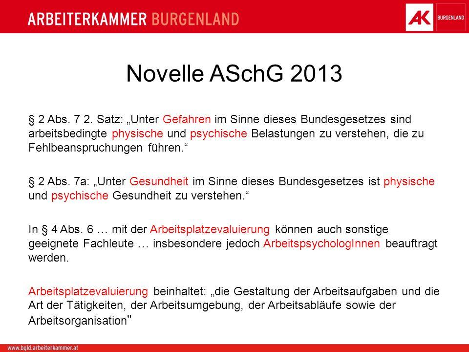 Novelle ASchG 2013 § 2 Abs. 7 2. Satz: Unter Gefahren im Sinne dieses Bundesgesetzes sind arbeitsbedingte physische und psychische Belastungen zu vers