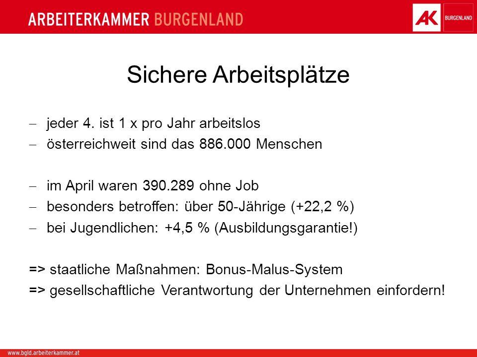 Sichere Arbeitsplätze jeder 4. ist 1 x pro Jahr arbeitslos österreichweit sind das 886.000 Menschen im April waren 390.289 ohne Job besonders betroffe