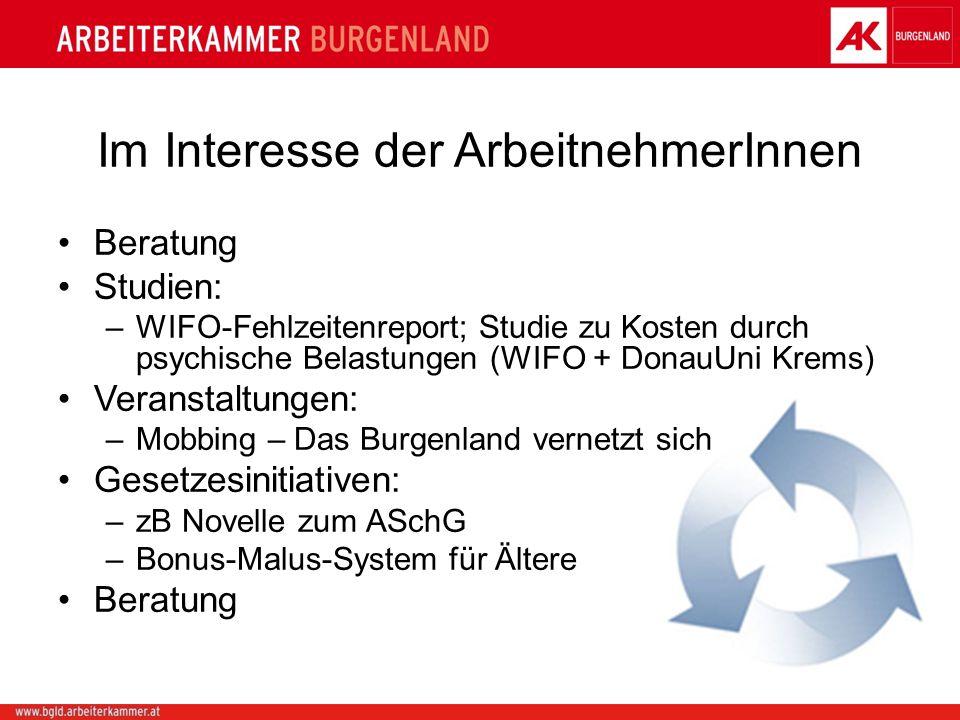 Im Interesse der ArbeitnehmerInnen Beratung Studien: –WIFO-Fehlzeitenreport; Studie zu Kosten durch psychische Belastungen (WIFO + DonauUni Krems) Ver
