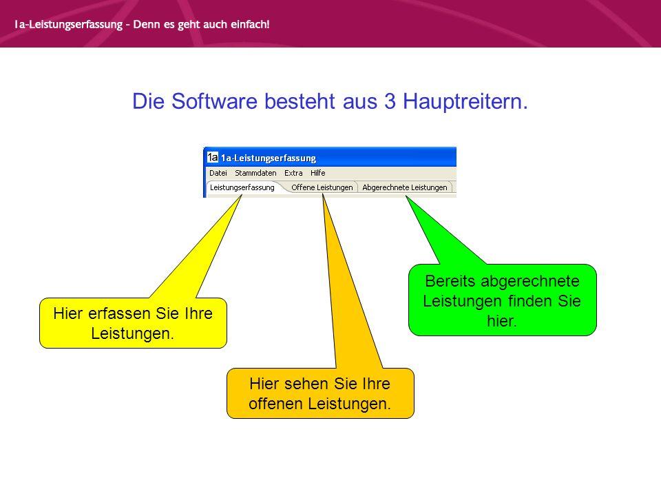 Die Software besteht aus 3 Hauptreitern. Hier erfassen Sie Ihre Leistungen. Hier sehen Sie Ihre offenen Leistungen. Bereits abgerechnete Leistungen fi
